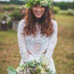 Demoiselle d'honneur bohème blanche et verte